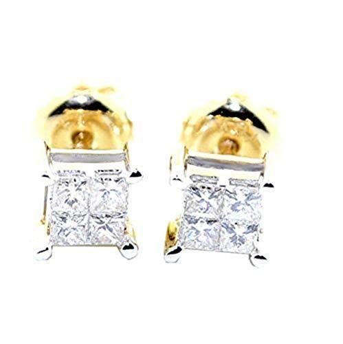 (0.25cttw Princess Cut Diamond Earrings Studs Screw Back 10K Yellow Gold 5mm Wide)
