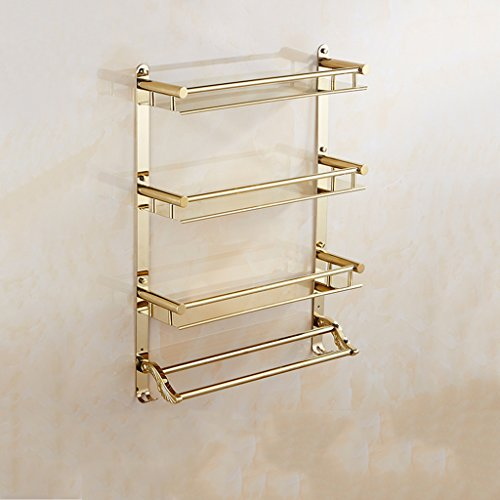 (LQQFFHome Shelves, Bathroom 3-Tier Shelf European-Style Gold Stainless Steel Wall Hook Multi-Function Double Towel bar (Size: 40cm) (Size : 40cm) )