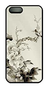 Chinese style peony cute iphone 5S case PC Black for Apple iPhone 5/5S