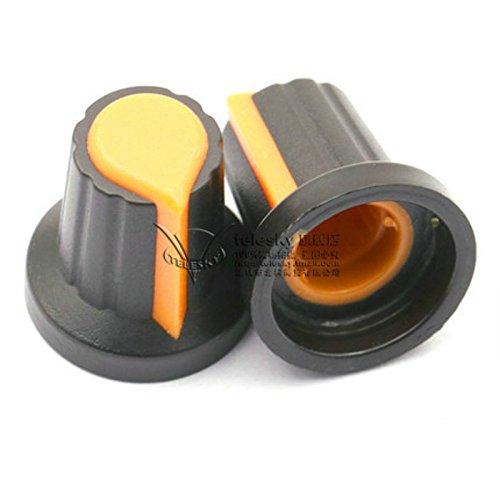 (50Pcs Potentiometer Pot Knob With Color Pointer for 6mm Split Splined Shaft (Orange Pointer))