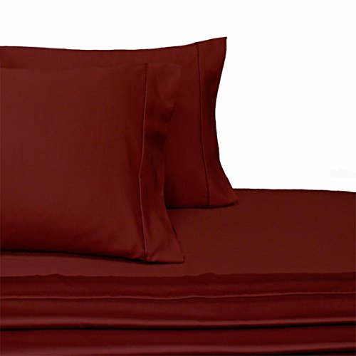 Split-King: Adjustable King Size Solid Burgundy Wrinkle-Free Hotel Collection Solid Size Microfiber sheet set, deep pocket, 95gsm ,100% Microfiber Dual King ()