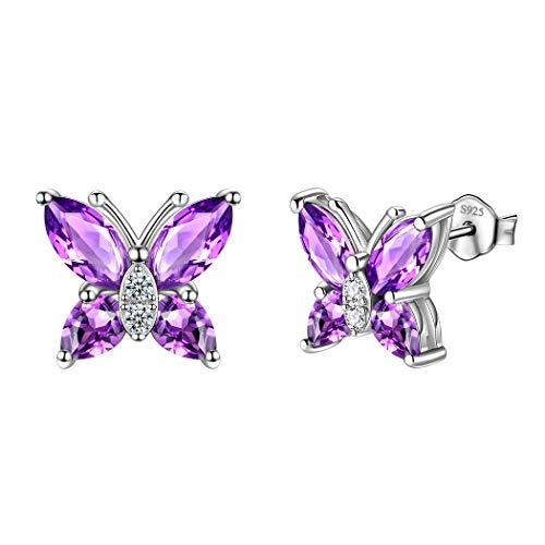 925 Sterling Silver Purple Studs Earrings Women Minimalist Crystal Butterfly Jewelry Girls Small Animal Butterflies Stud Earring Dating Gift For Wedding DE0078P