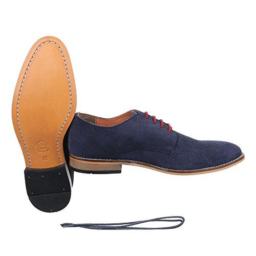 Ital-Design Herren Leder Schuhe Blockabsatz Oxford Schnürsenkel Budapester Stil Business-Schuhe Blockabsatz Blau