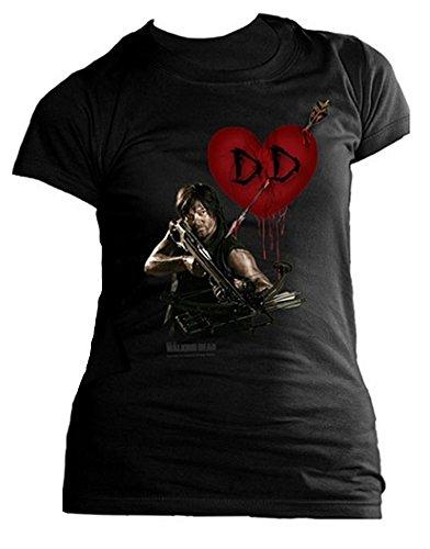 (Ladies Walking Dead Daryl Dixon Heart Wings Official Tee T-Shirt Womens Girls (X-Large))