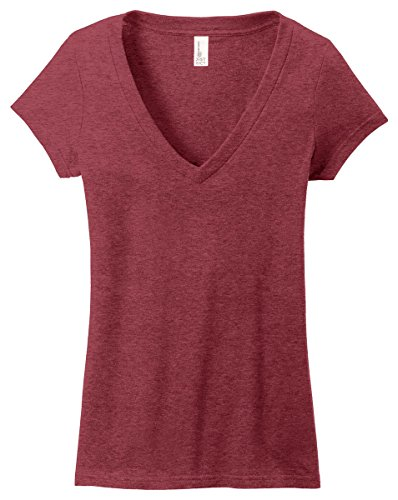 District Juniors Very Important T-Shirt Deep V-Neck, Heathered Red, XXXX-Large ()