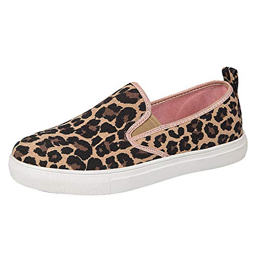 Peigen Women Leopard Print Shoes,Ladies Casual Hollow Out Slippers Breathable Slip-on Low-Flat Shoes