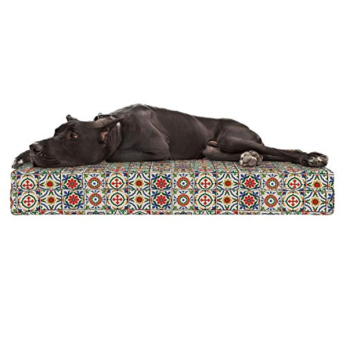 Lunarable Patchwork Dog Bed, Inspirations in Portuguese Azulejo Ceramic Pattern Traditional Mosaics, Durable Washable Mat with Decorative Fabric Cover, 48