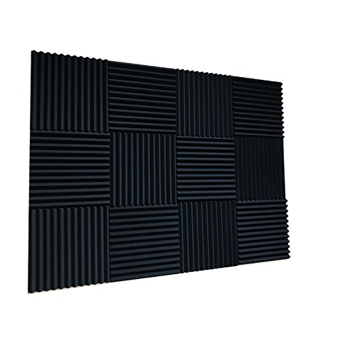 48 Pack BLACK Acoustic Foam Panel Wedge Studio Soundproofing Wall Tiles 12'' X 12'' X 1''