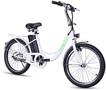 NAKTO 20 Commute Electric Bicycles 1 Year Warranty 250W Power Assisted Bicycle for Male Female Teenagers with Removable 36V 10A Large Capacity Lithium Battery and Charger E-Bike
