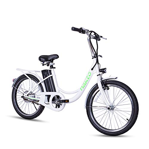 NAKTO 20″ Commute Electric Bicycles [1 Year Warranty] 250W Power Assisted Bicycle for Male Female Teenagers with Removable 36V 10A Large Capacity Lithium Battery and Charger E-Bike