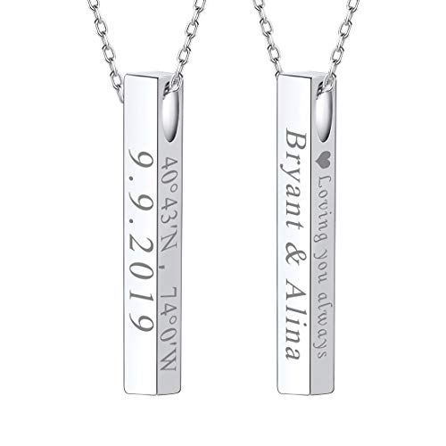 U7 Women Girls Personalized Message Text Engrave 4 Sided Pendant 925 Sterling Silver Vertical Cuboid Bar Necklace ()