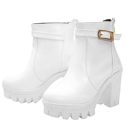 fereshte New Womens Chunky High Heel Platform Ankle Boots White LUAgk