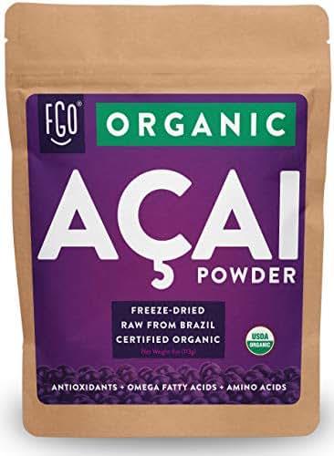 Organic ACAI Powder (Freeze-Dried) | 4oz Resealable Kraft Bag | 100% Raw Antioxidant Superfood Berry From Brazil | by Feel Good Organics