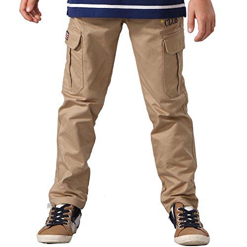 Leo&Lily Big Boys' Husky Elastic Waist Dobby Twill Cargo Pants 10 Khaki (Husky Size)