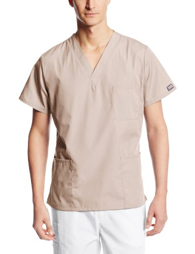 Cherokee Big and Tall Originals Unisex V-Neck Scrubs Shirt, Khaki, XXXXX-Large ()