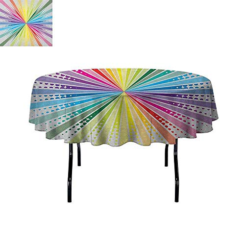 Douglas Hill Vintage Rainbow Leakproof Polyester Tablecloth Retro Style Burst Effect with Halftone Details Colorful Rays Pop Sixties Outdoor and Indoor use D59 Inch Multicolor