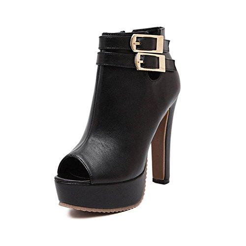 Vonrui Peep Toe Bootie High Heel Open Toe Ankle Boot