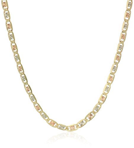 14k Gold Italian Tri-Color 2.2mm Valentino Chain Necklace...