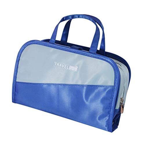 Cosmetic Bag Large Capacity Travel Multi Function Two in One Bag Ha (Blue) ()