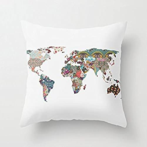 dkisee colorful world map throw pillow cover cushion case 18