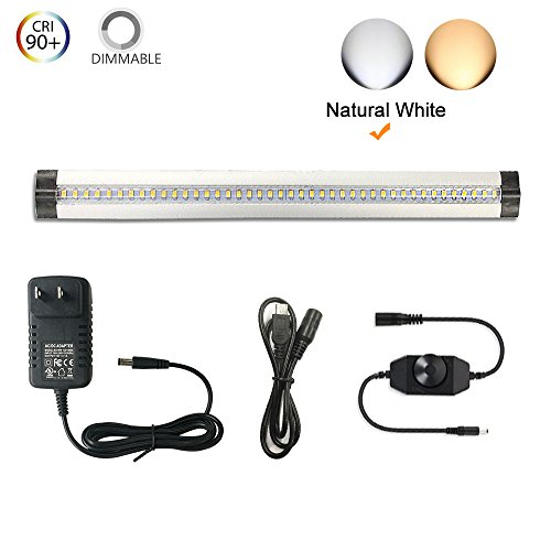 Under Cabinet Lighting - Thinnest, 2 Coin Thickness LED Light Dimmable with 42 LEDs, Natural White 5W 450 LM CRI90, All Accessories Included
