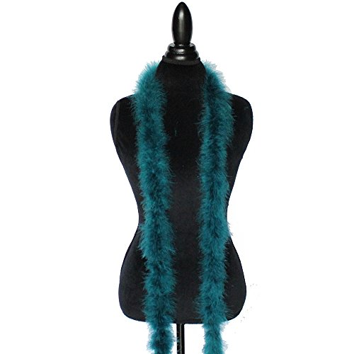 Boa Trim Feather (Cynthia's Feathers Marabou Feather Boa 6 Feet Long 22 Grams Crafting Sewing Trim Hair Bows Wedding Halloween Costume (Teal))