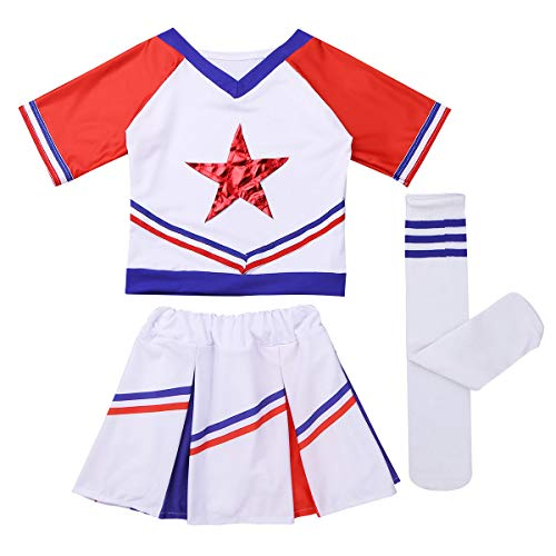 MSemis Girls Cheer Leader Costume Top Skirt Socks Cheerleading Uniform Cosplay Performing Dancewear White&Red -