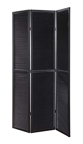 3 Panel Shutter - Legacy Decor 3 Panel Solid Wood Shutter Accordion Screen Room Divider in Black