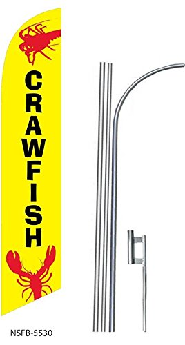 (3) three CRAWFISH 15' Swooper #8 Feather Flags KIT with poles+spikes by Flagforest
