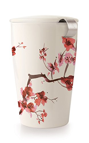 Tea Forte KATI Contemporary Insulated Ceramic Single Cup Tea Brewing System with Stainless Steel Infuser Basket and Lid, Cherry Blossoms