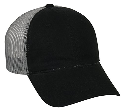 Outdoor Cap Garment Washed Meshback Cap, Black/Grey, One Size