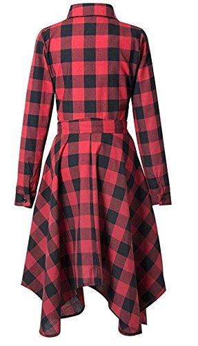 Donne Coulisse Pulsante Tasche Rosso Camicia Vino Vestito Domple Plaid Con Irregolare Casuale wxHBtFUTqH