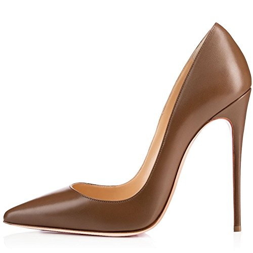 Court Shoes Womens Smart Heels Brown Pointed High Soireelady Ladies Toe 12cm 8wqBgzg