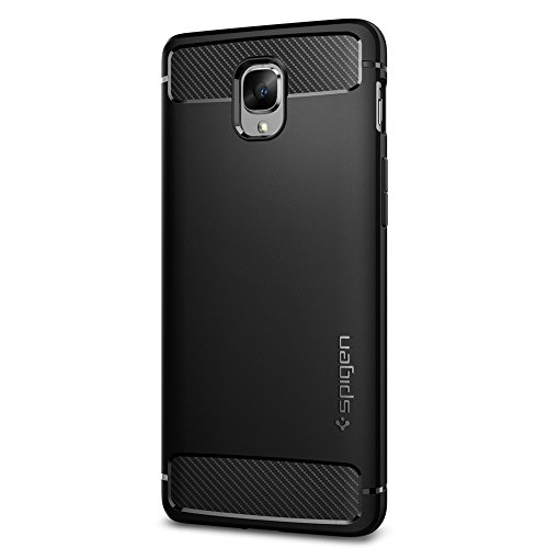 Spigen Rugged Armor OnePlus 3 Case / OnePlus 3T Case with Resilient Shock Absorption and Carbon Fiber Design for OnePlus 3 2016 - Black