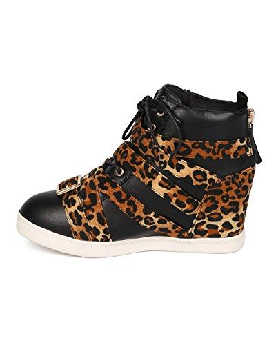 Sneaker Women Lace Faux Suede Leopard Buckle Wedge Leopard Liliana Fashion Up CG31 qpwII50