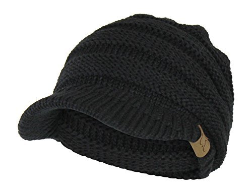 Black Cable Ribbed Knit Beanie Hat w/ Visor Brim – Chunky Winter Skully Cap (Womens Cable Black)