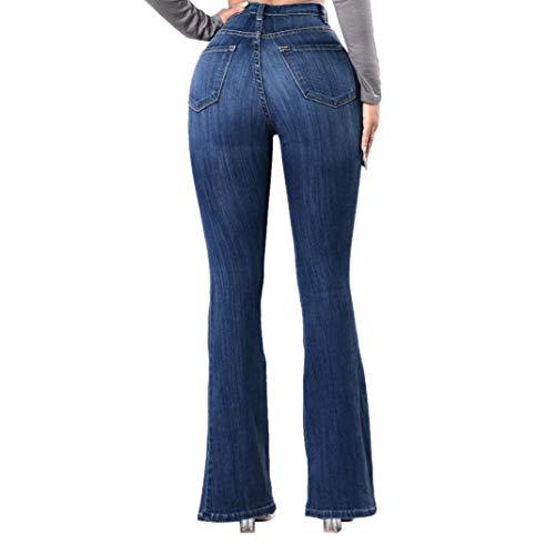 Zarup♥♥♥Pantalones Vaqueros Delgados Denim Jeans Women Waisted Skinny Jeans Stretch Slim Jeans hasta la Pantorrilla Azul Oscuro