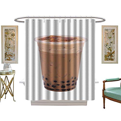 luvoluxhome Shower Curtains Fabric iced Coffe Isolated on White Background Bathroom Accessories W48 x L84