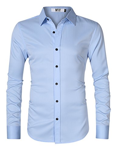 MrWonder Men's Bamboo Fiber Dress Shirt Elastic Casual Slim Fit Solid Long Sleeve Button Down Shirts Blue XL