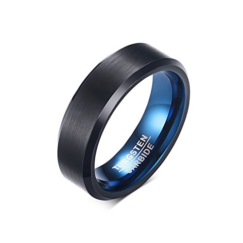 Double FNT 6MM Tungsten Carbide Matte Brushed Wedding Band Blue Polish Inside (Sea Arm Vii Set)