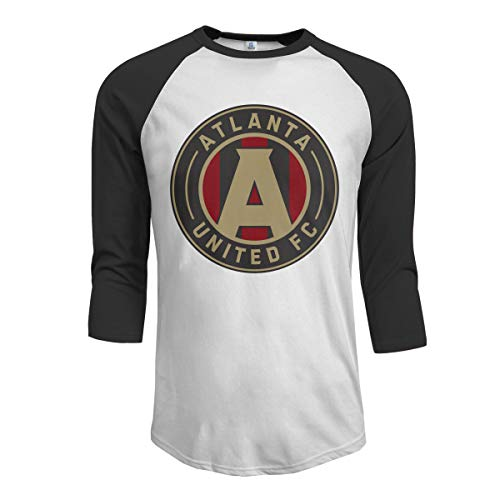 (Menike Men's Casual Atlanta United Racer Raglan Baseball T Shirt 3/4 Sleeve Black)