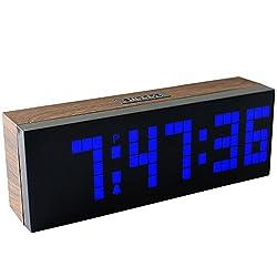CHkosda Digital Led Clock Wall Alarm Digital Calendar Clock Count Down Timer(wood grain series, blue)