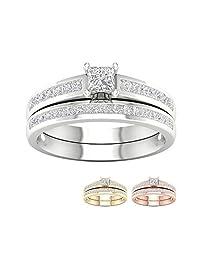 IGI Certified 14k Gold 1ct TDW Princess-Cut Diamond Engagement Ring Set(I-J, I2)