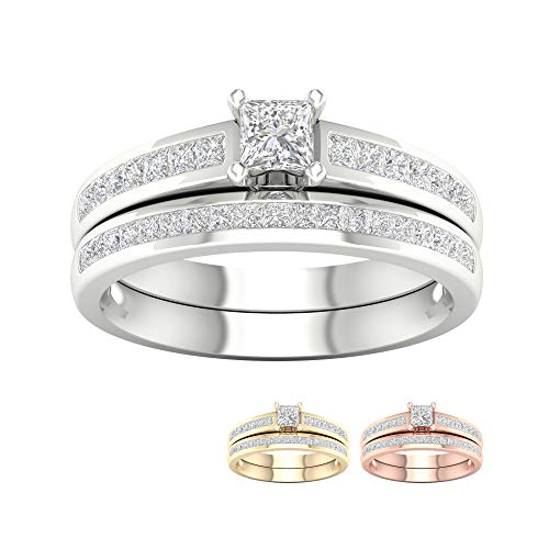 (IGI Certified 14k White Gold 1ct TDW Princess-Cut Diamond Engagement Ring Set(I-J, I2))