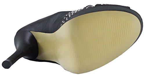 Lora Dora Womens Satin Peep Toe High Heel Shoes Bridal Size UK 3-8 Black ux33JS3dW