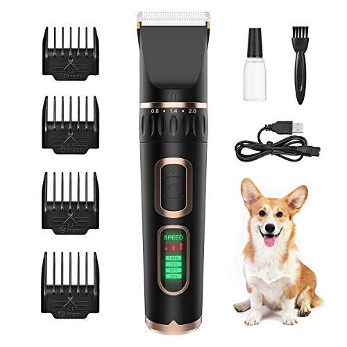 ZIIDII Dog Clippers,3 Speed Rechargeable Pet Grooming Kit with LED Display,Waterproof Blade Low Noise Hair Trimmer Clipper for Dogs Cats and Other Pets