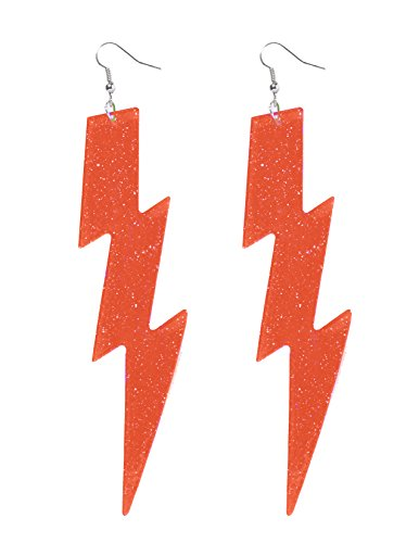 Forum Novelties Women's Neon Orange Lightning Bolt Earrings -