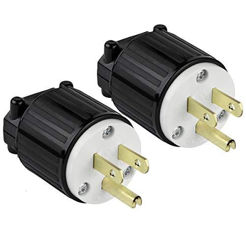 - ENERLITES Industrial Grade 15A 125V Straight Blade Plug, NEMA 5-15P, 2P, 3W, 66200-BK, Black, 2 Pack