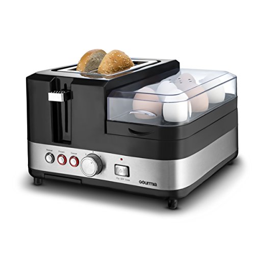 1 Breakfast Station - 2 Slice Toaster, Egg Cooker and Poacher, Vegetable Steamer, Bacon and Meat Steaming Tray - One Touch Controls - Stainless Steel (Sausage 4 Links)
