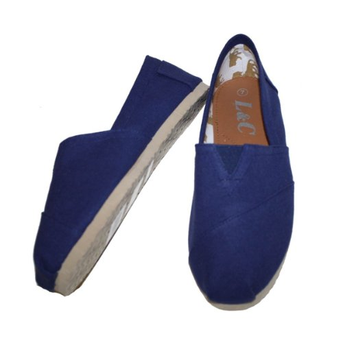 FLATS SLIP CANVAS SHOES Navy ON CLASSIC WOMEN'S NEW CASUAL zxAa6q